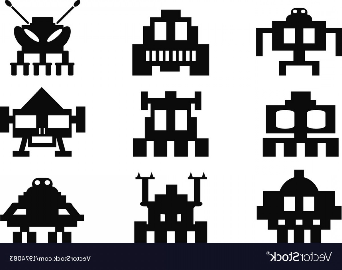 1200x948 Space Invaders Icons Set Pixel Monsters Vector Shopatcloth