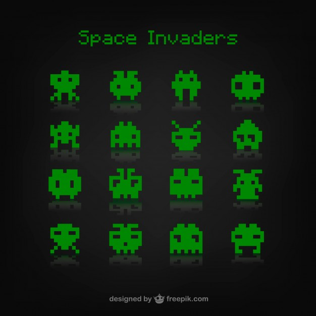 626x626 Space Invaders Game Vector Free Download