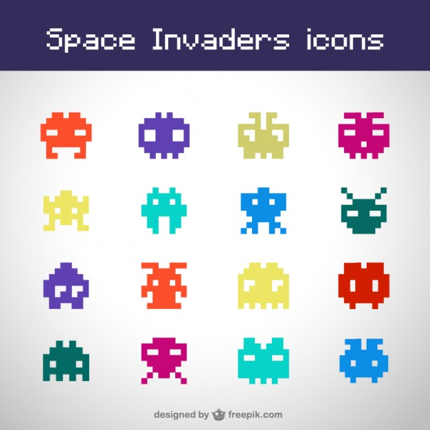 626x626 Space Invaders Icons Vector Free Download