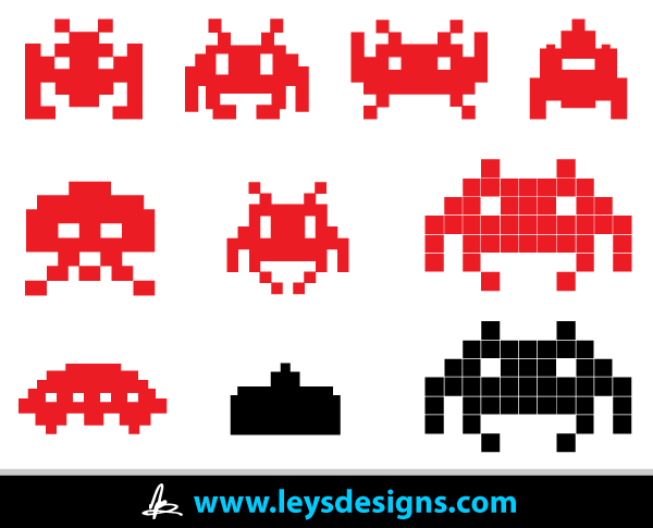 600x485 Vector Space Invader Icons Free Vectors Space