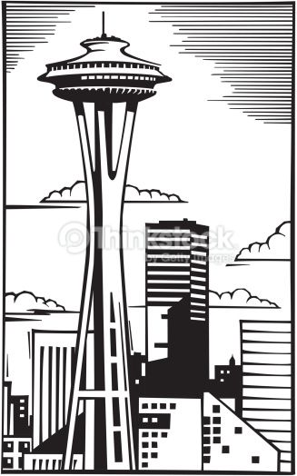 327x524 City In Space Clip Art Vector Art Space Needle In Seattle