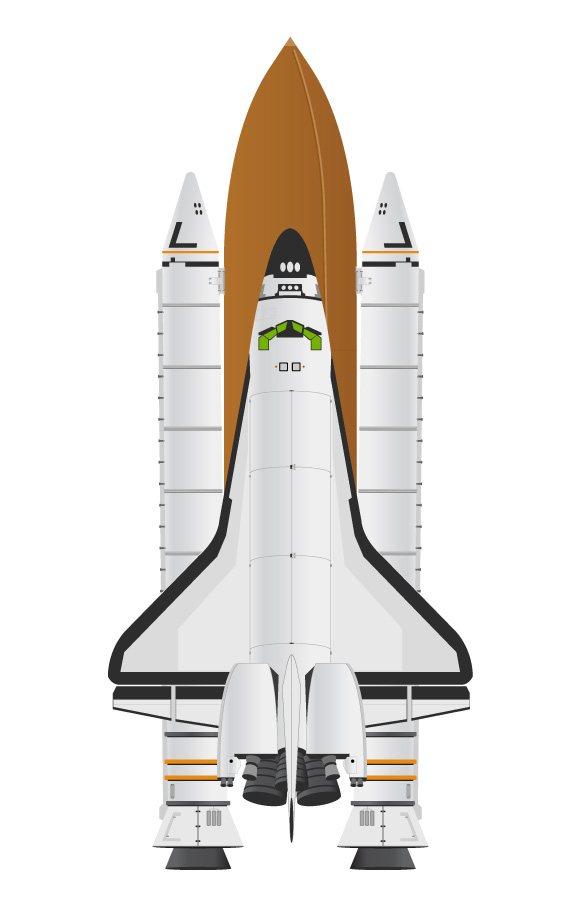 580x905 Detailed Space Shuttle Vector Set No Cost Royalty Free Stock