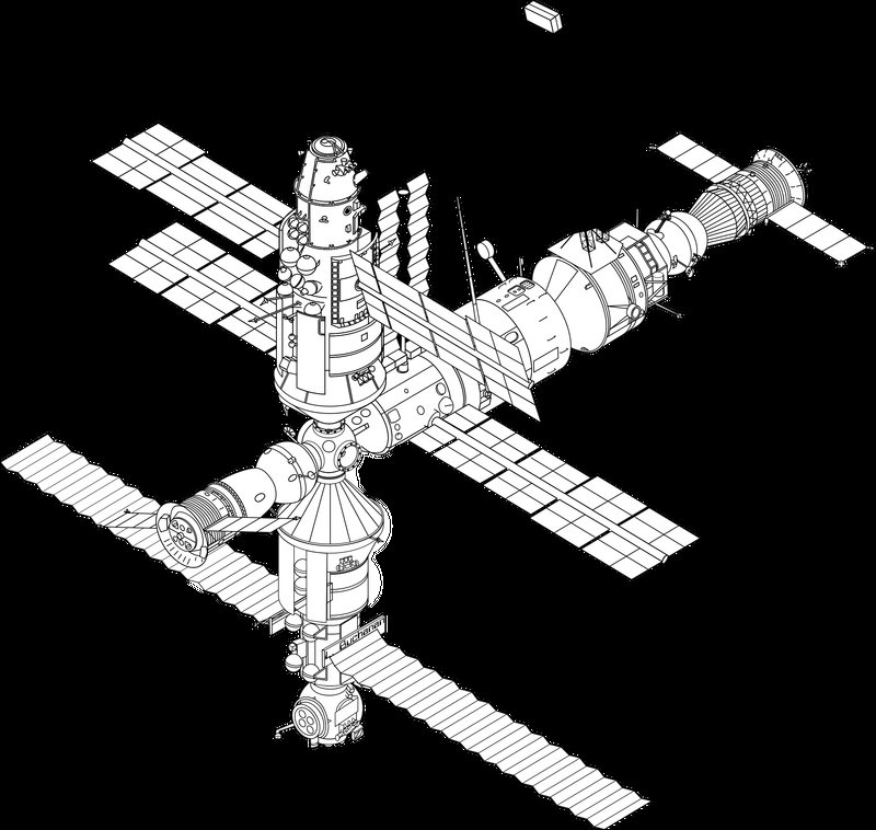800x758 Mir Space Station Sketch Vector Clipart Image