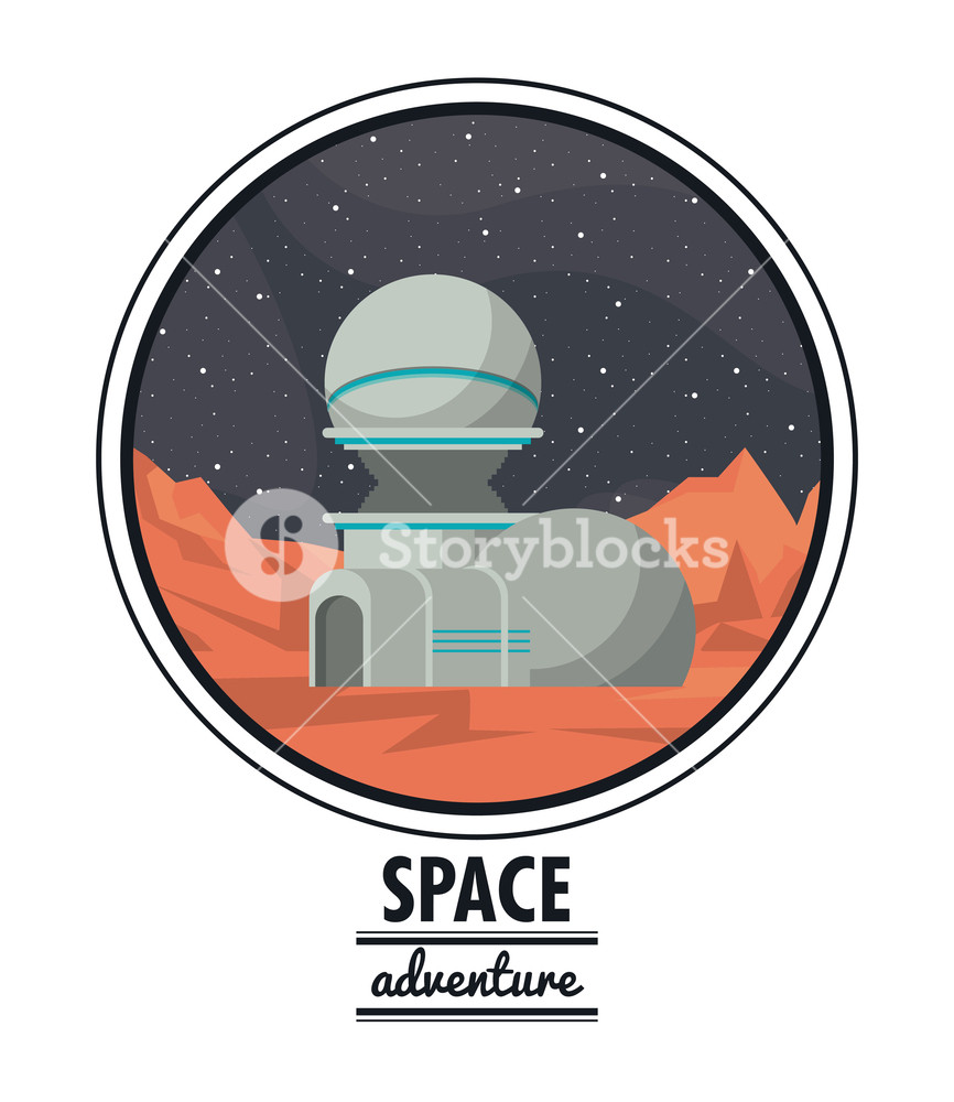 866x1000 Mars Space Station Adventure Round Symbol Vector Illustration
