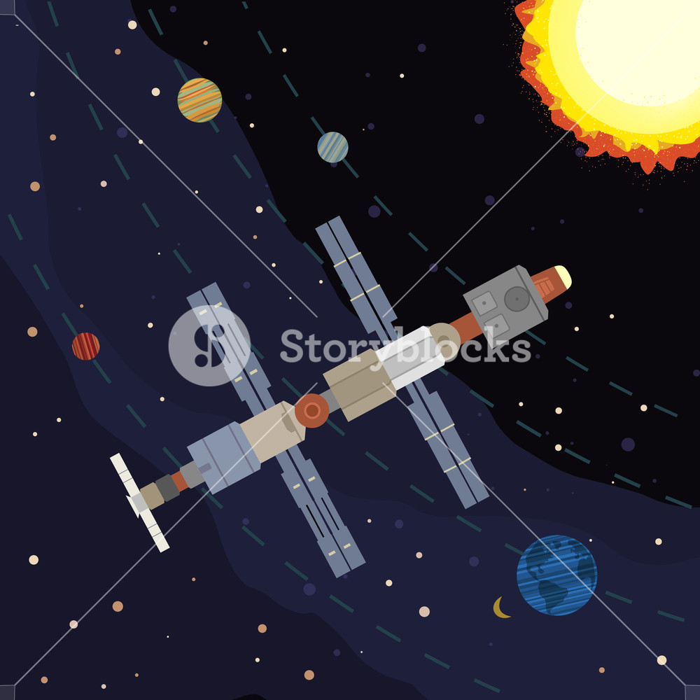 1000x1000 Outer Space Poster. Satellite Flight. Colorful Abstract Cartoon