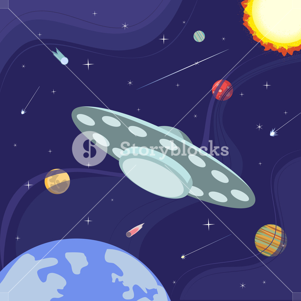 1000x1000 Outer Space Poster. Ufo Flight. Colorful Abstract Flat Cartoon