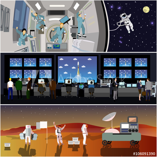 500x500 Space Mission Control Center. Rocket Launch Vector Illustration