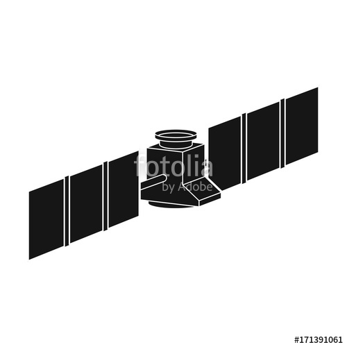 500x500 Space Station In Orbit. Space Technology Single Icon In Black
