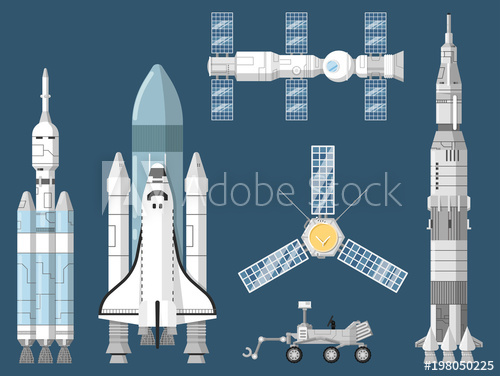 500x376 Astronautics And Space Technology Isolated Set. Space Shuttle