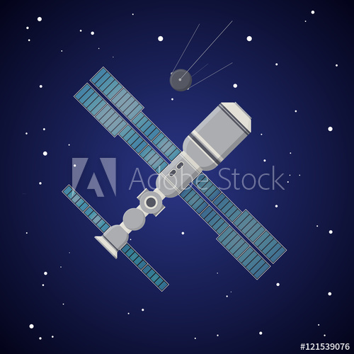 500x500 Space Station. Vector Illustration In Flat Style