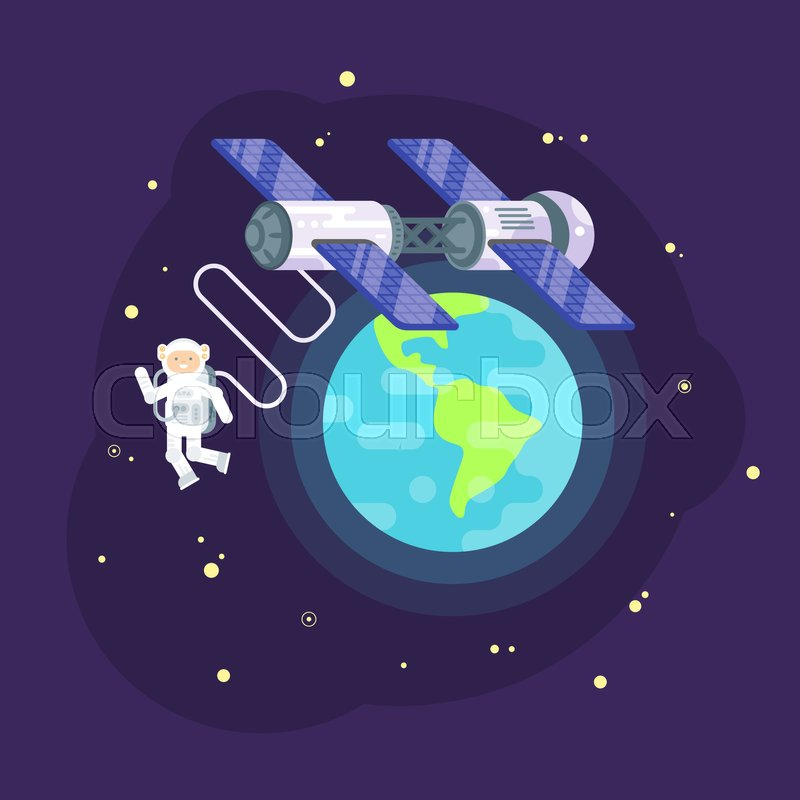 800x800 Vector Flat Style Illustration Of Space Station And Astronaut In
