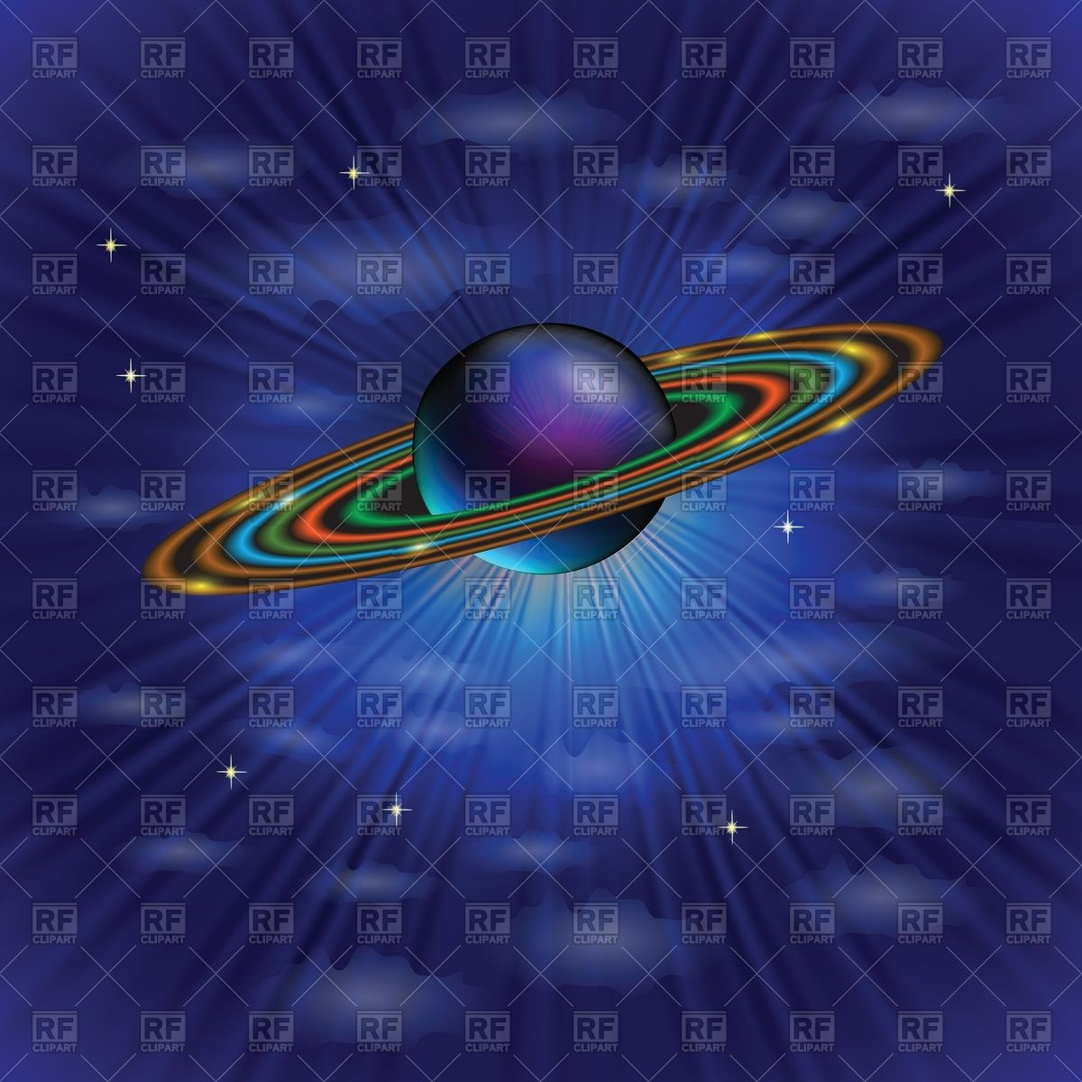 1200x1200 Planet Saturn In A Space Vector Image Vector Artwork Of
