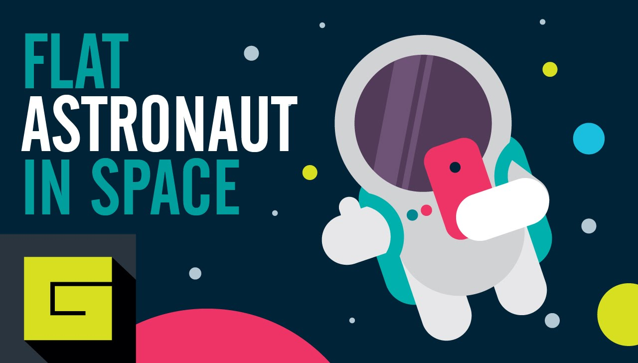 1280x728 Flat Astronaut In Space, Vector Drawing Process, Gigantic