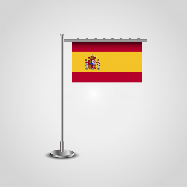 626x626 Spain Flag With Stand Vector Design Vector Free Download