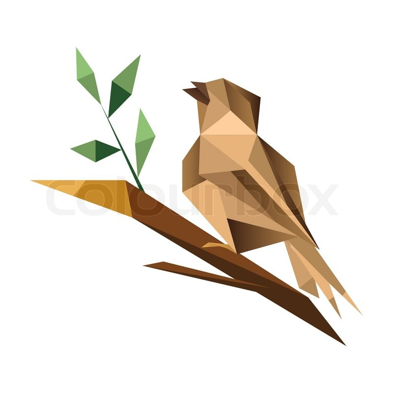 800x800 Origami Sparrow Isolated On White Background Sitting On Branch