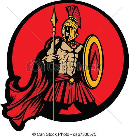 442x470 Greek Spartan Trojan Vector Mascot . Greek Warrior Mascot Holding