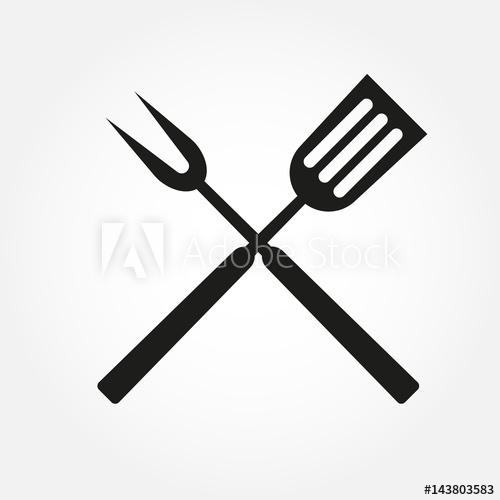 500x500 Bbq Or Grill Tools Icon. Crossed Barbecue Fork With Spatula