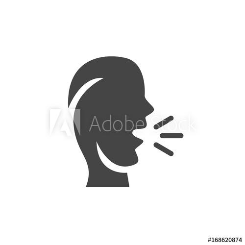 500x500 Talk Icon. Speak Vector Logo On White Background