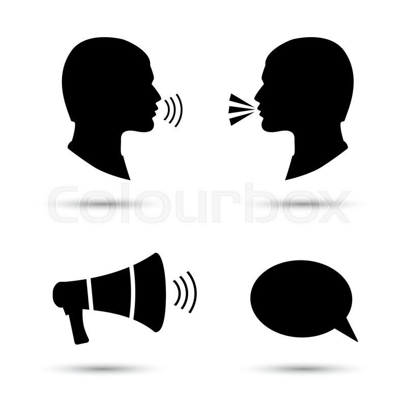 800x800 Talk Or Speak Icons. Loud Noise Symbols. Human Talking Sign