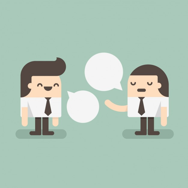626x626 Two Employees Speaking Vector Free Download