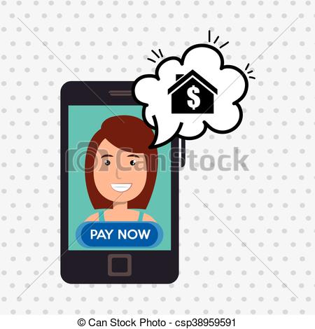 450x470 Woman House Smartphone Speak Vector Illustration Graphic Eps
