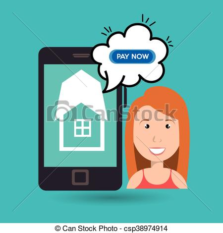 450x470 Woman House Smartphone Speak Vector Illustration Graphic.