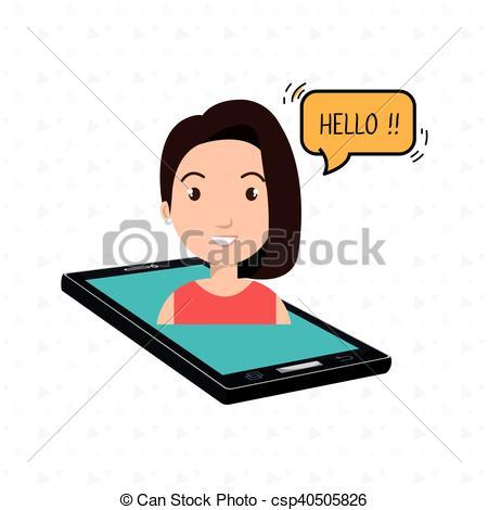 450x470 Cellphone Woman Speech Speak Vector Illustration Eps 10.