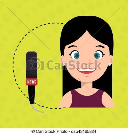 450x470 Woman Microphone Audio Speak Vector Illustration Eps 10 Vector