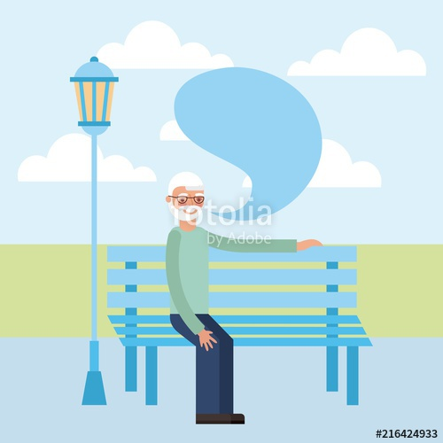 500x500 Grandparents Day Grandfather Sitting Park Bubble Speak Vector