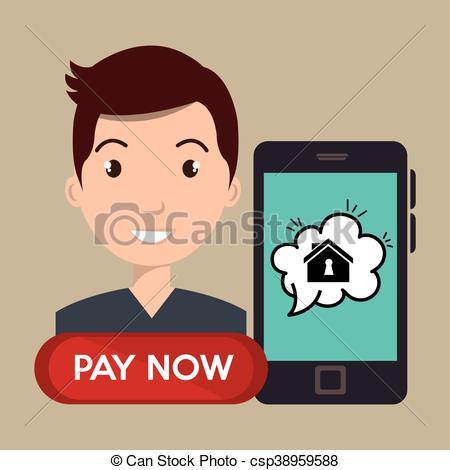 450x470 Man House Smartphone Speak Vector Illustration Graphic.