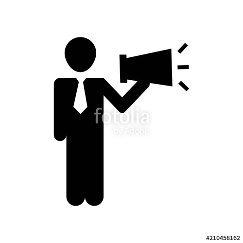 500x500 Man Talking By A Speaker Icon Vector Icon. Simple Element