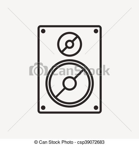 450x470 Music Speaker Icon In Brown Outline And Beige Background.