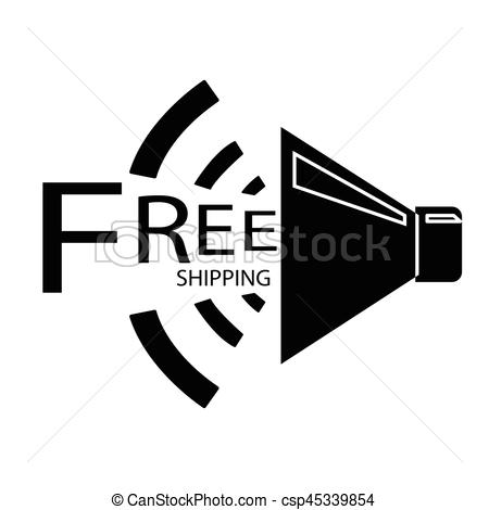 450x470 Simple Flat Black Free Shipping Speaker Icon Vector.