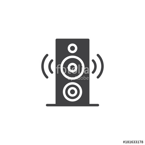 500x500 Speaker Icon Vector, Filled Flat Sign, Solid Pictogram Isolated On