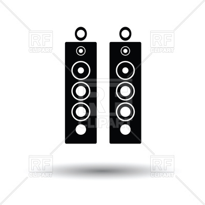 400x400 Audio System Speakers Icon With Shadow Vector Image Vector