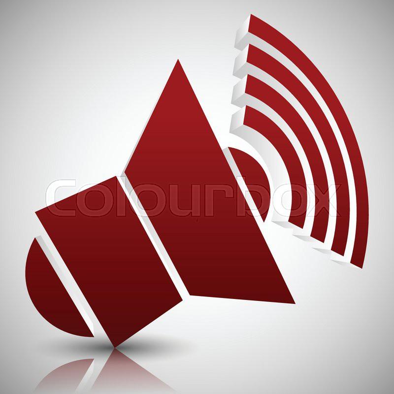 800x800 Eps 10 Vector Illustration Of Red 3d Speaker Icon Stock Vector
