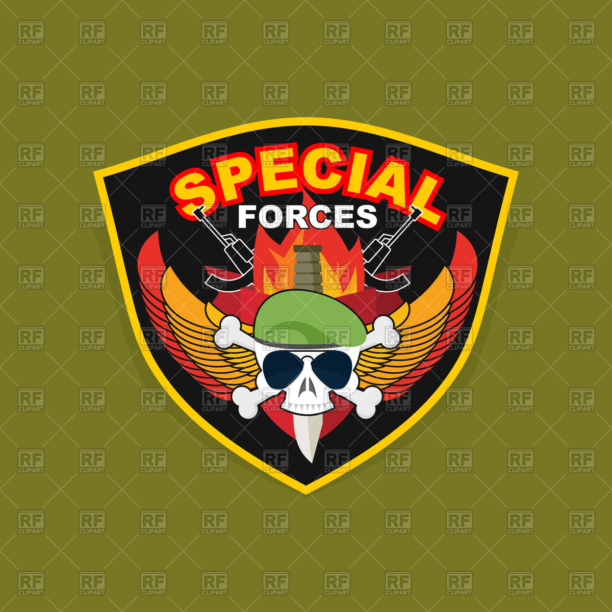 1200x1200 Military Emblem With Skull And Weapon, Wings On Shield, Special