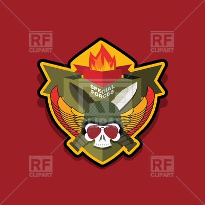400x400 Special Forces Emblem, Military Logo, Skull And Helmet Vector