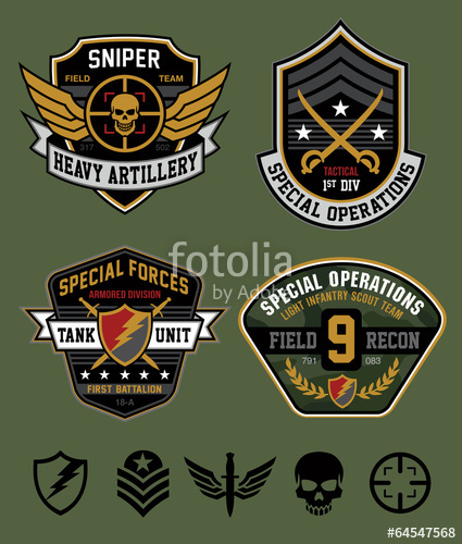 425x500 Special Ops Patch Emblem Set Stock Image And Royalty Free Vector