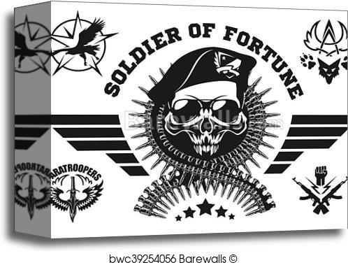 498x379 Canvas Print Of Special Forces Vector Emblem With Skull