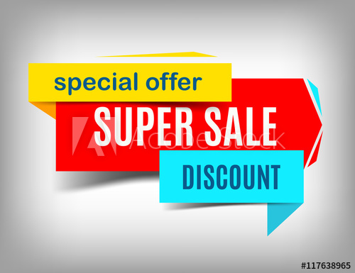 500x385 Sale Red Banner. Super Sale Poster Design. Discount Poster