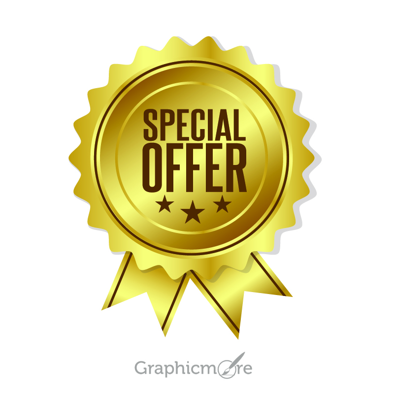800x800 Gold Special Offer Badge Design Free Vector File Download