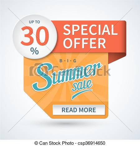 450x470 Summer Sale Banner. Special Offer Vector Template. Summer Sale