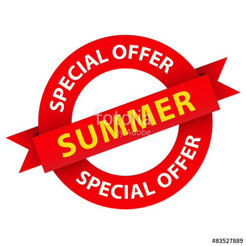 500x500 Special Summer Offer Vector Red And Orange Marketing Stamp Stock