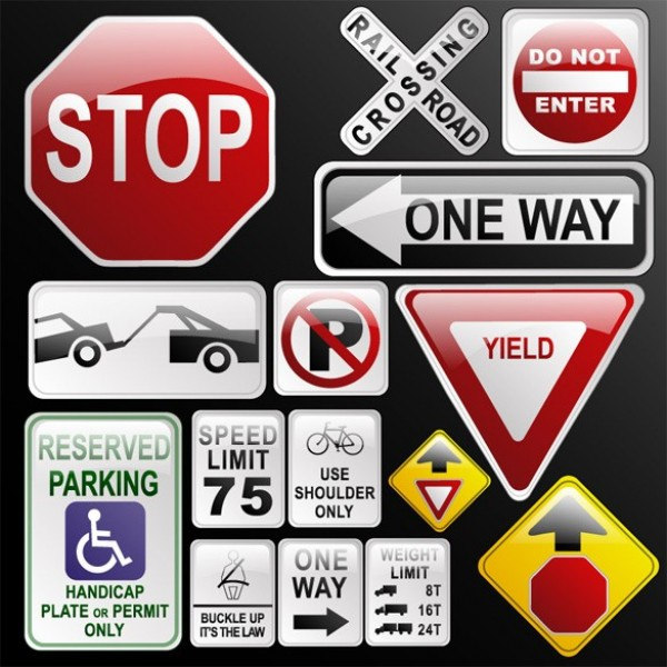 600x600 Glossy Road Highway Signs Vector Set