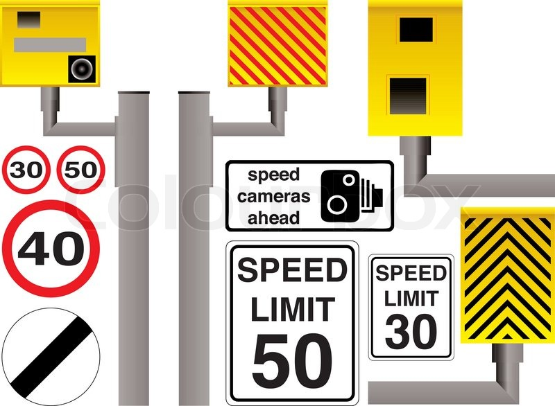 800x586 Illustrated Speed Camera Selection With Additional Limit Signs And