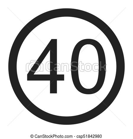 450x470 Maximum Speed Limit 40 Line Icon, Traffic And Road Sign, Vector