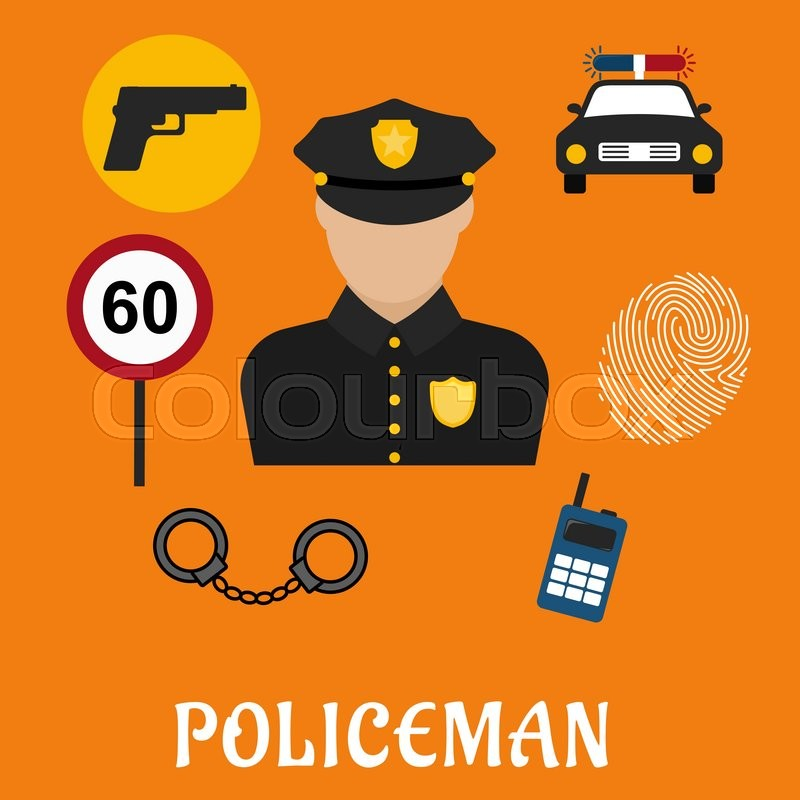 800x800 Policeman Profession Concept With Officer In Black Uniform