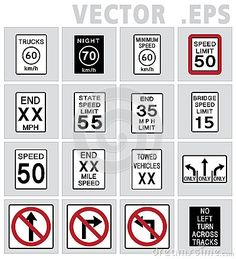 236x259 Traffic Road Usa Vector. Stop, Pare, Speed Limit, Yield Vector