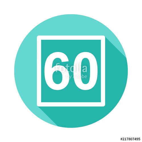 500x500 Speed Limit Sign 60 Icon In Flat Long Shadow Style Stock Image